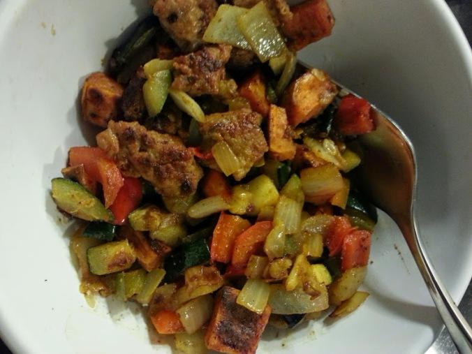 Dinner! Sweet potato chicken sausage hash - so many good veggies - peppers, onions, hot pepper and zucchini