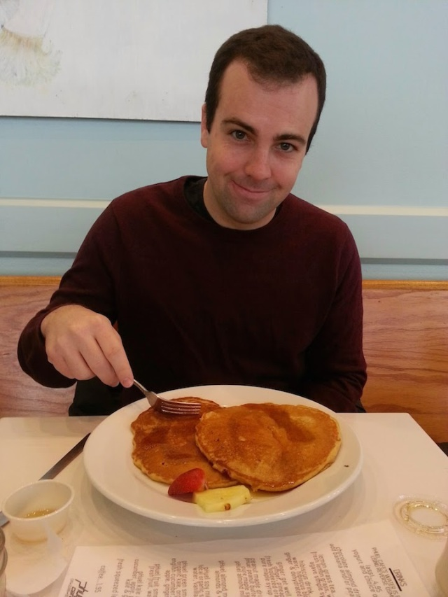 """B and his pancakes. He's probably thinking """"Please take the picture so I can eat these soon"""""""