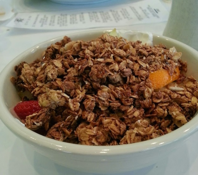Glorious homemade granola. Not quite as good as my mom's recipe - but the closest thing here :)