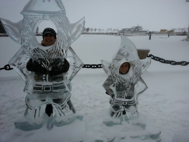 My mom and I goofing around with the ice sculptures