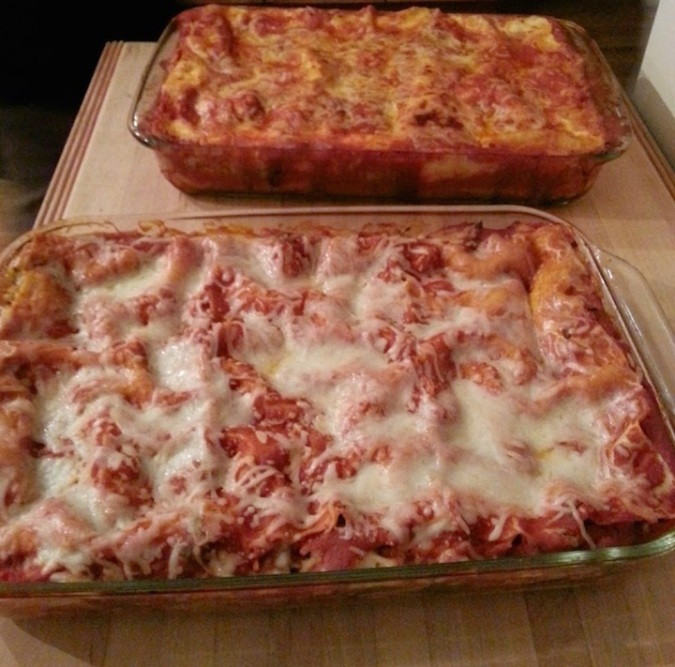 B's mom's lasagna. One had veggies in it and the other had meat.