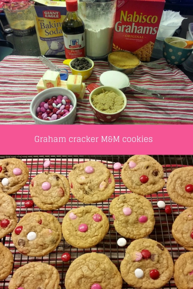 Graham cracker M&M cookies for valentines day