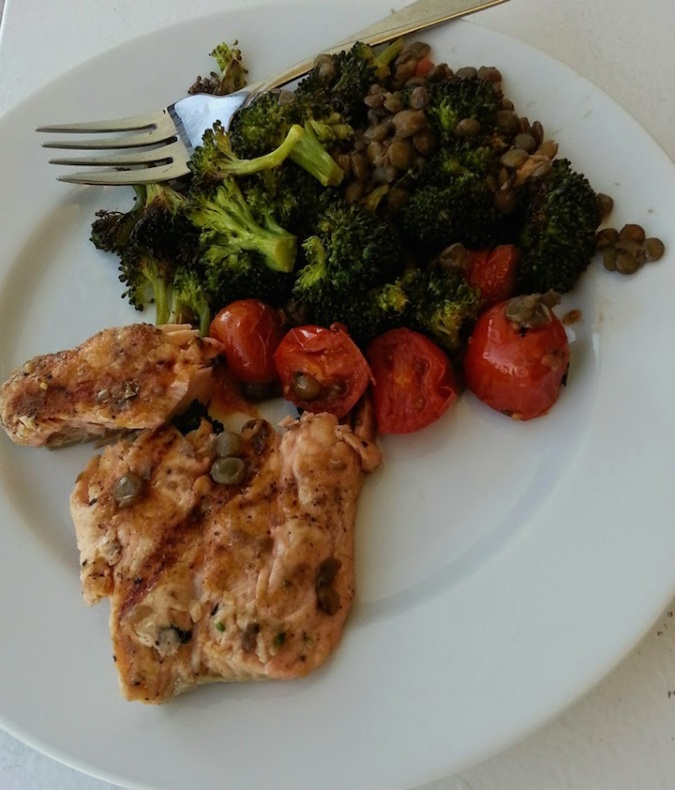 Salmon, lentils, roasted broccoli and tomatoes. Yes, my lunches often look like a dinner.