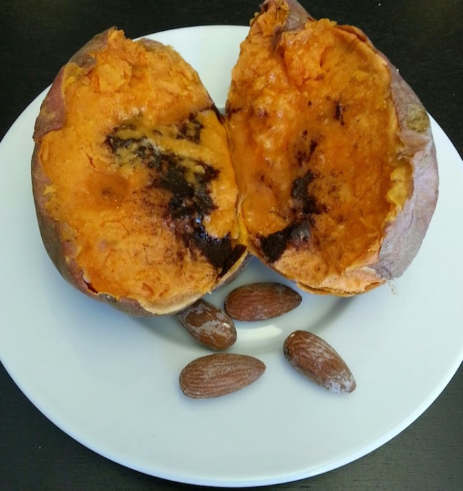 Probably about a handful of almonds - 12ish? - with my sweet potato. Some are hiding.
