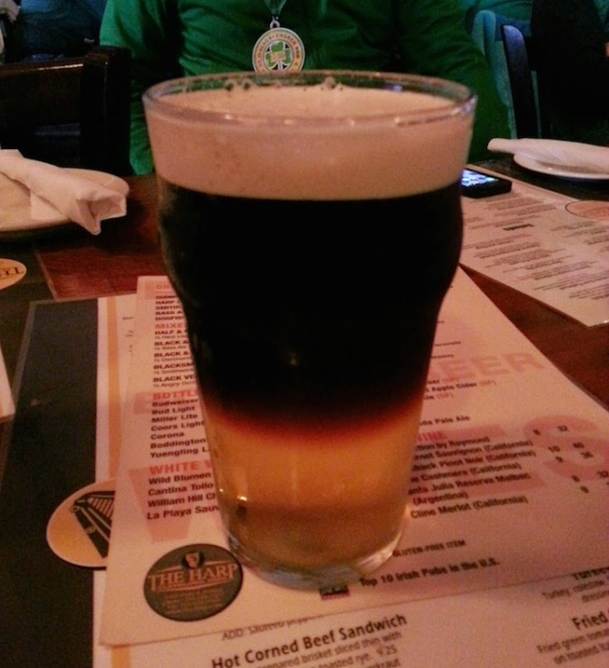 "When at an Irish restaurant / bar .... I got a ""black velvet"" - half guinness, half cider"