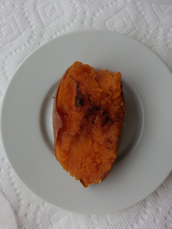 Half a sweet potato with cinnamon and honey. SO good.