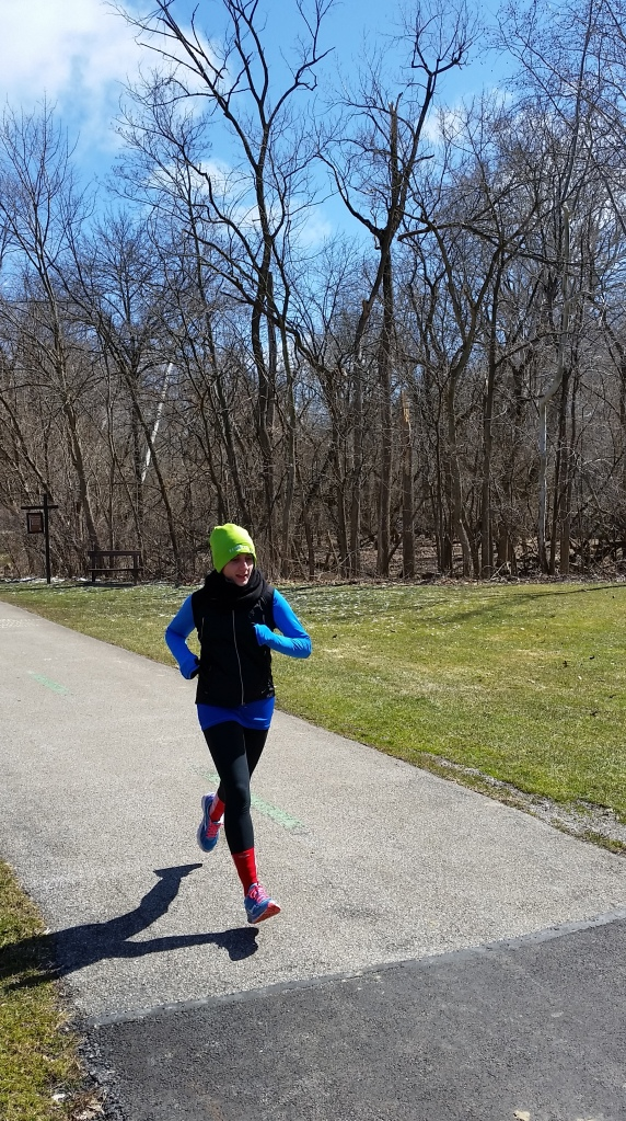 B took a picture of me while running - just finishing our 8 miler!