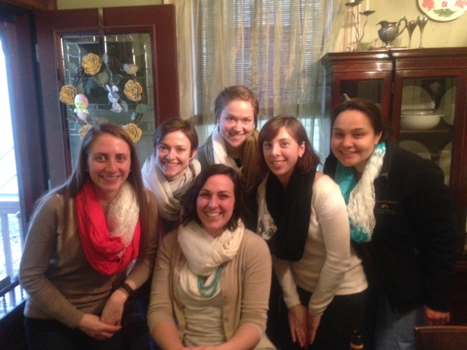 some of the ladies and our scarves