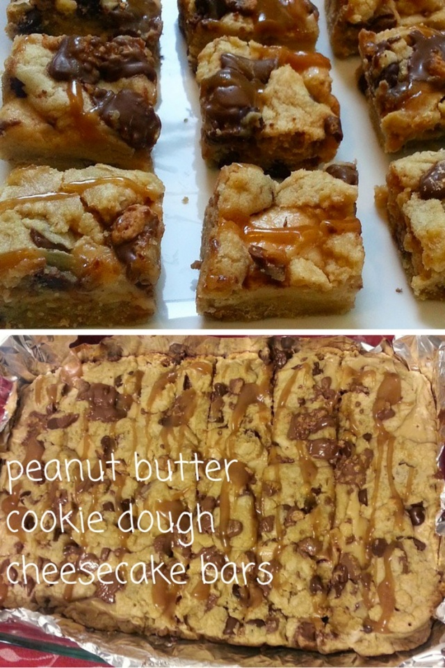 peanut butter cookie dough  cheesecake bars- i crashed the web