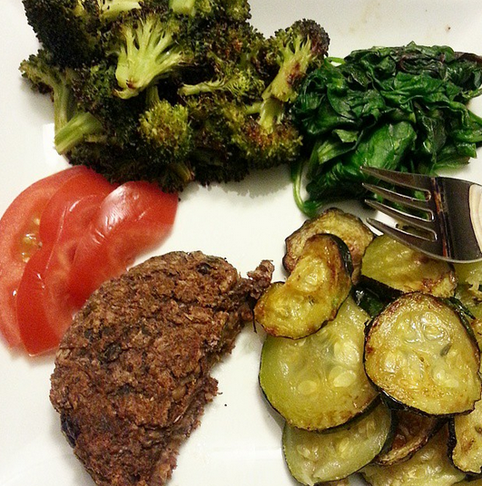 veggie burger with a side of  - veggies!