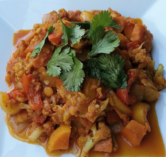 Curried lentils with sweet potato and cauliflower