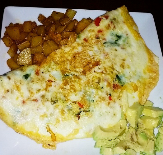 breakfast for dinner! egg white omelets with potatoes, peppers, onions and avocado