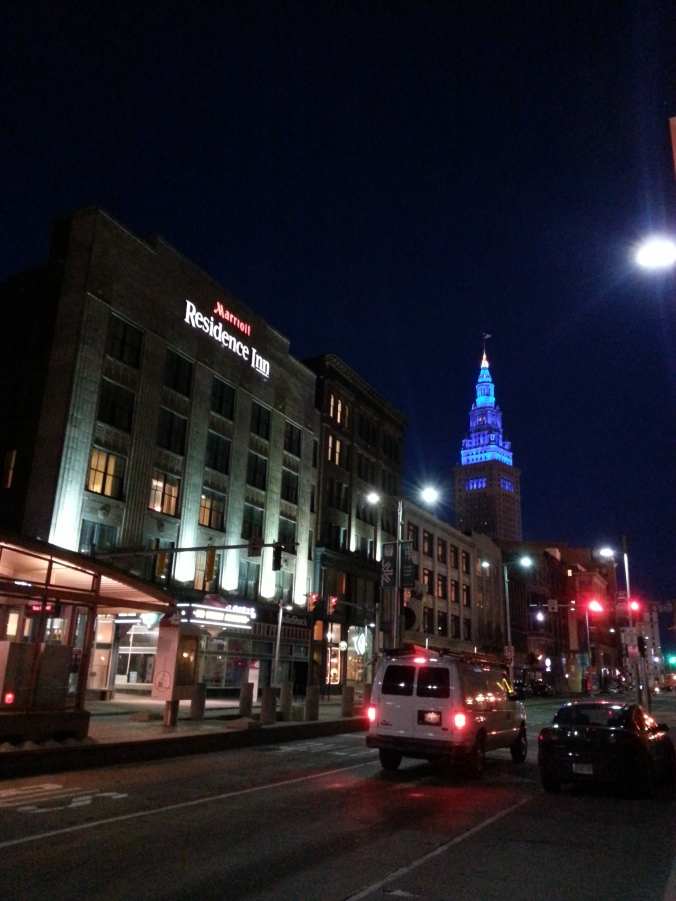 Snapped a photo of the Terminal Tower, lit up blue, while waiting for my running buddy
