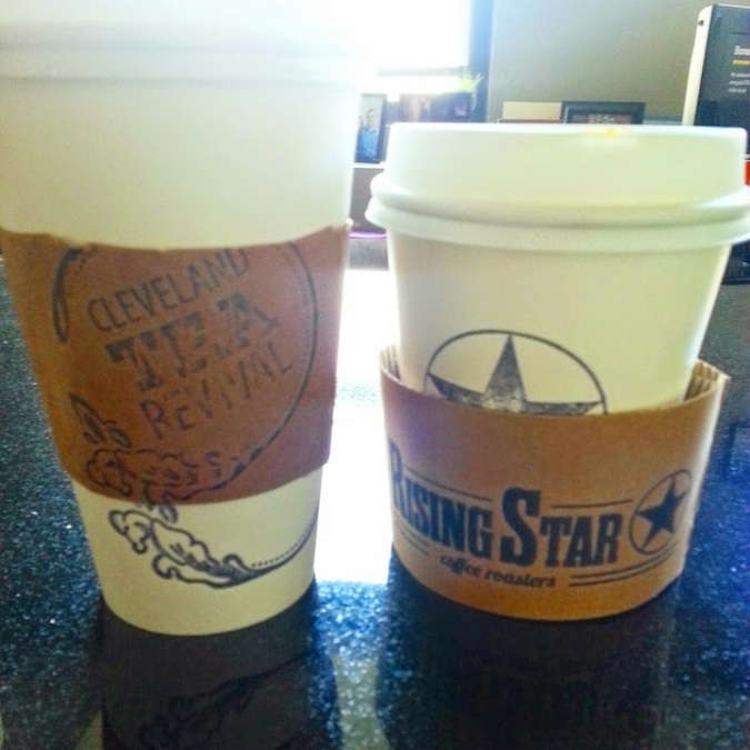 Tea for me and coffee for B!