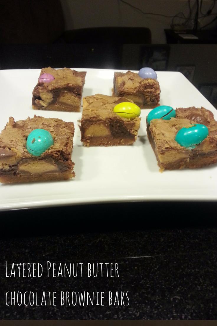 Layered peanut butter chocolate brownie bars