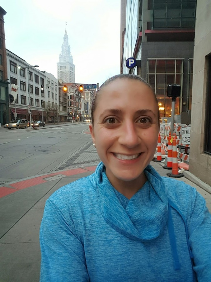 I took a selfie while waiting for Erica-  you can see the Terminal Tower in the background AND the fact that my shirt is indeed too warm for our run.