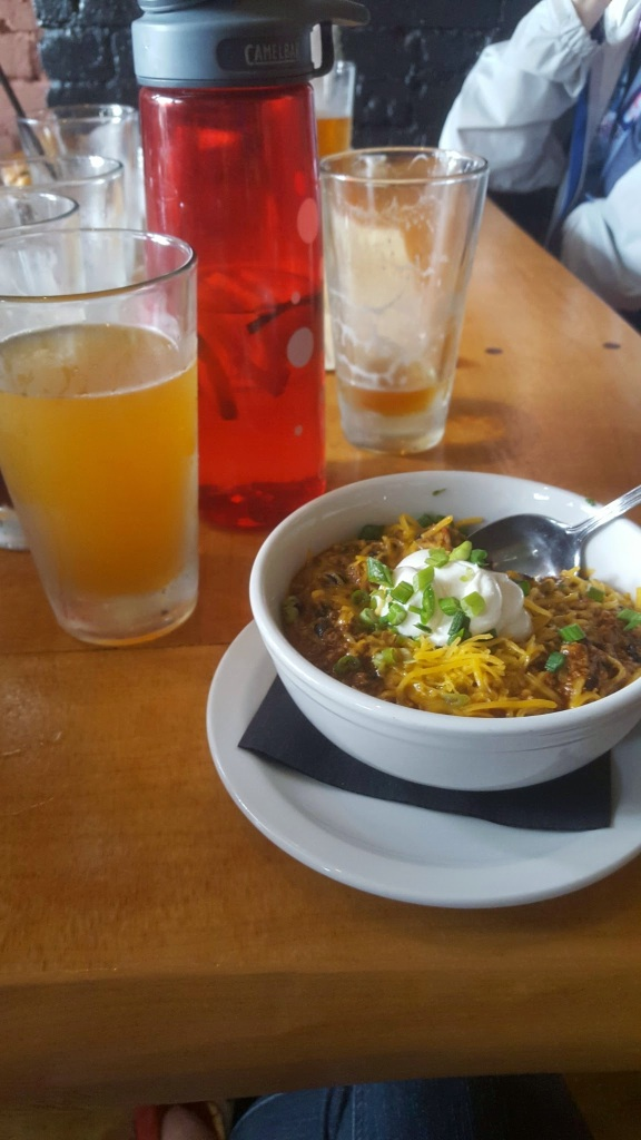 post-race refueling. Beers and chorizo bean chili!