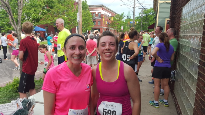 Post race with my friend Cuoghi - we are suuuuper sweaty. It was 75+ and super humid