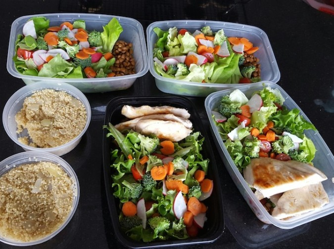 Salads, chicken and quinoa