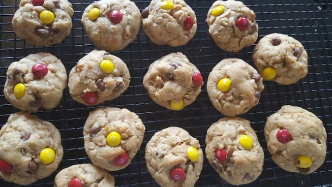 "ALL IN cookies - peanut butter oatmeal with ""wine and gold"" M&Ms"