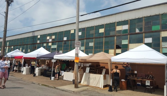 Stands set up in Hingetown for Sunday Market