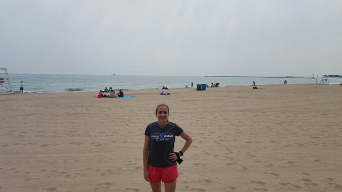 Running along the beach in Chicago