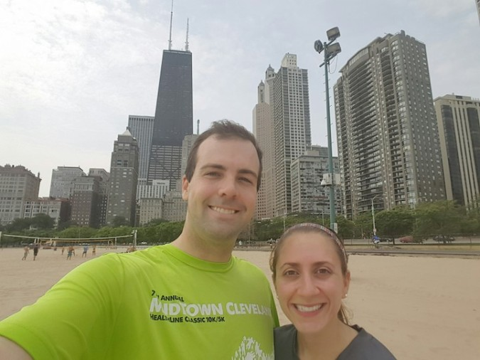 Running. On the beach with the Chicago skyline behind us