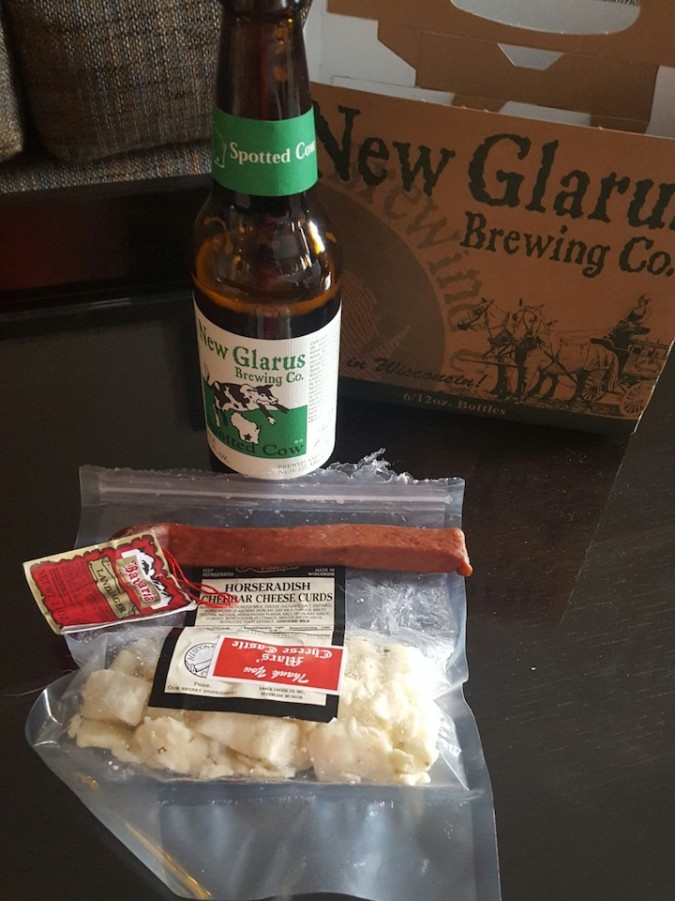 Goodies from the Cheese castle. Beer, cheese curds and meat stick. #healthy