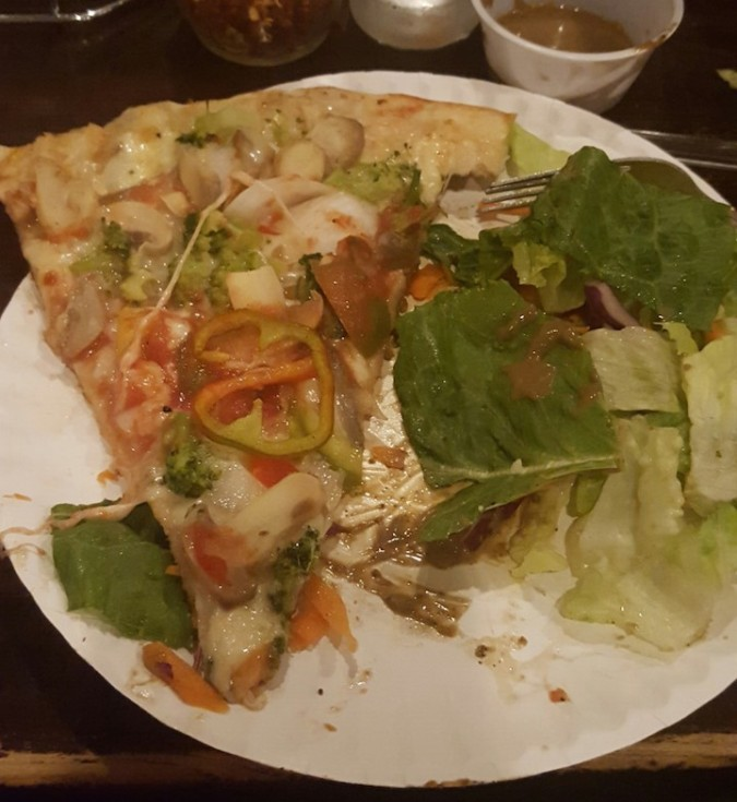 veggie slice and salad.