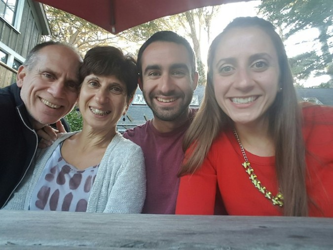 family selfie at happy hour
