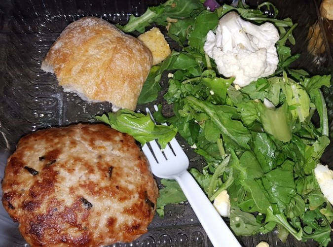 first meal there. Grilled turkey burgers (on the fire!) and salad and bread. Starting off great :)