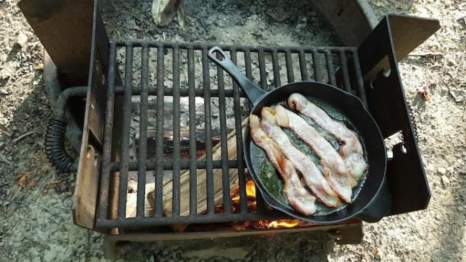 Making breakfast. Bacon!