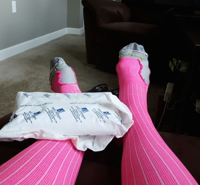 How I spent the night before the race ... compression socks (yes, they're inside out) and ice!