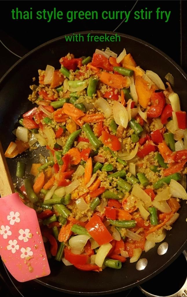 thai style freekeh green curry stirfry icrashedtheweb