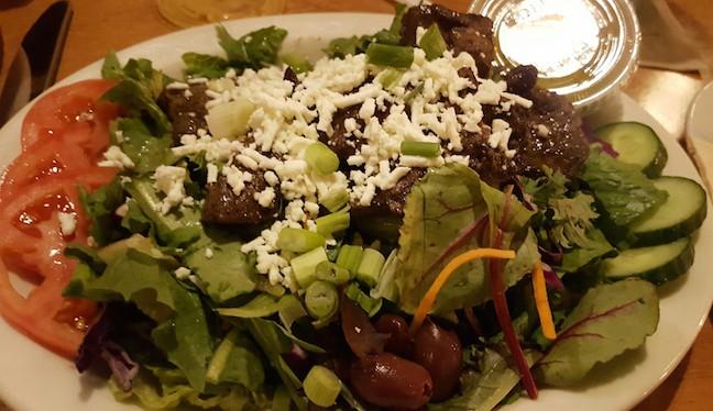 Lamb salad at Aladdins for dinner.