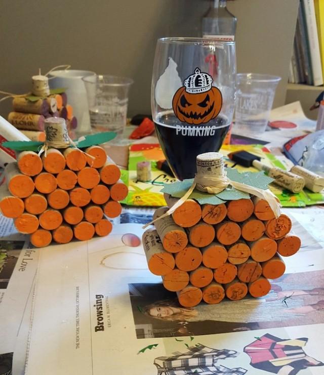 Warlock pumpkin beer and finished cork pumpkins!