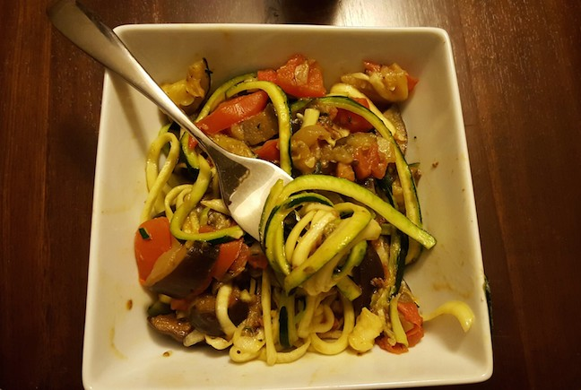 Zoodles with Chunky Eggplant Sauce