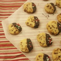 Chocolate Dipped Heath Bar Shortbread Cookies