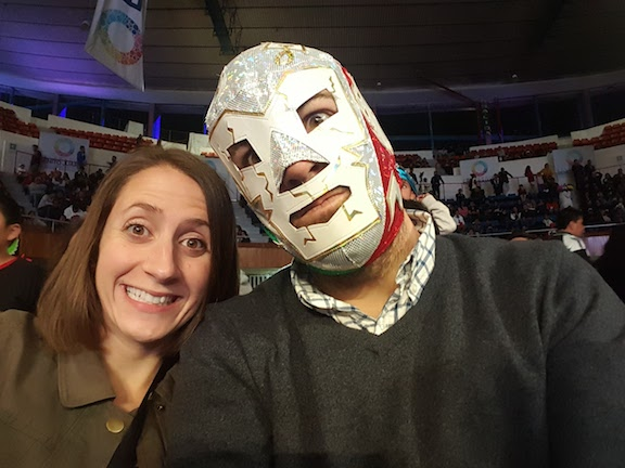 B (in his mask) and me at the fights