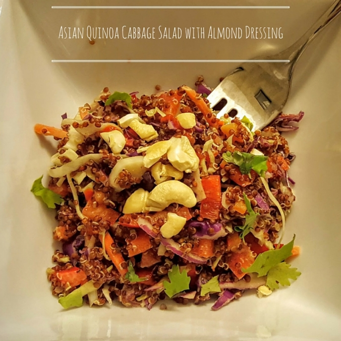 Asian Quinoa Cabbage Salad with Almond Dressing - icrashedtheweb