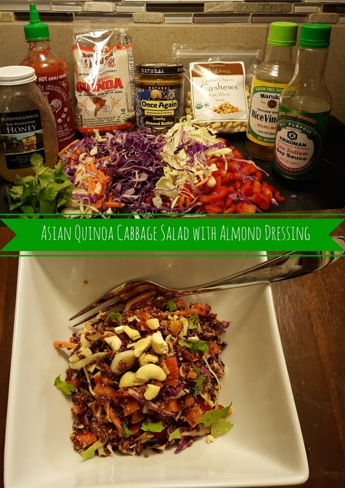 Asian Quinoa Cabbage Salad with Almond Dressing