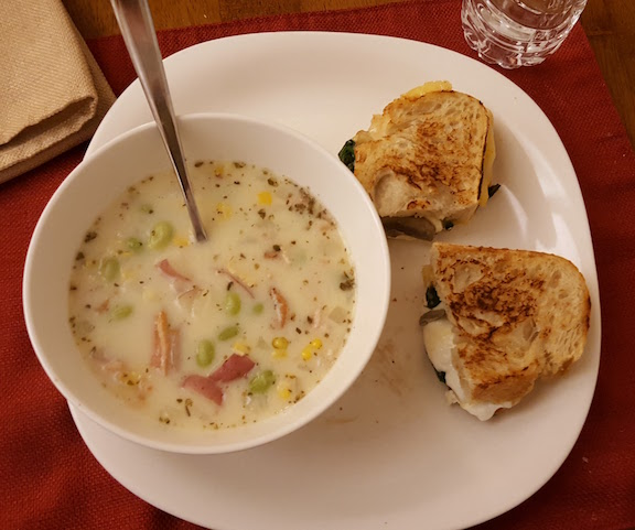 the PERFECT snowy evening dinner - grilled cheese and soup!