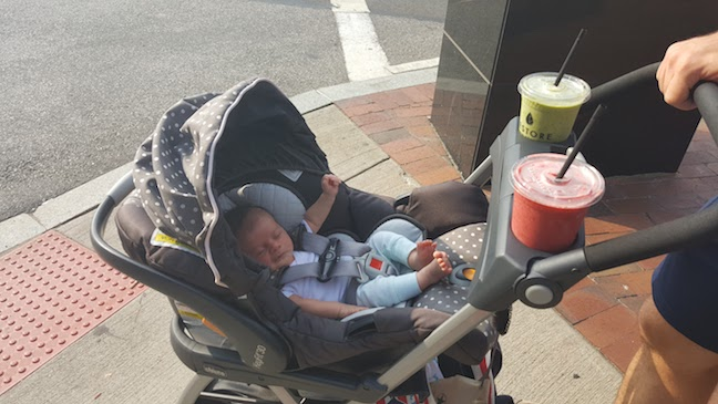 walking with a new baby (look how little FW is!) and smoothies - waay too often during my leave :)