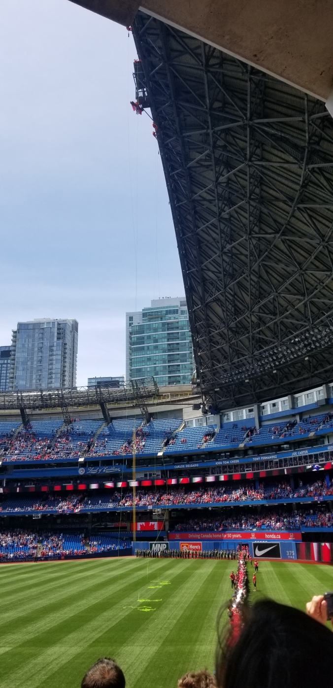 Toronto Blue Jays game Canada Day flag
